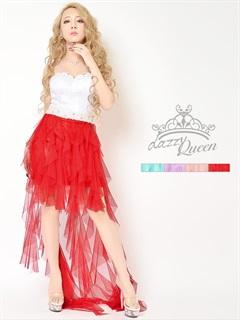 バイカラーチュールインナーミニベアロングドレス