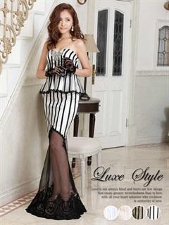 【P★10倍】[LuxeStyle]ペプラムストライプタイトロングドレス[15022][送料無料]