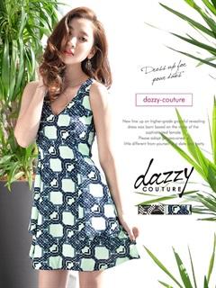 [dazzy couture]ポケット付切り替えフレアミニドレス[送料無料]