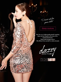 [dazzy couture]ワンカラースパンコール背中魅せ七分袖タイトミニドレス