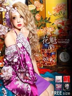 ◇dazzystore2017花魁◇チェーン付き和柄着物風インナーミニロングドレス