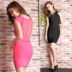 [dazzy couture]背中透けレースバンテージノースリーブタイトミニドレス
