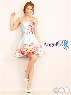 【P★10倍】[Angel R]水彩風花柄生地ベアトップミニドレス[送料無料]