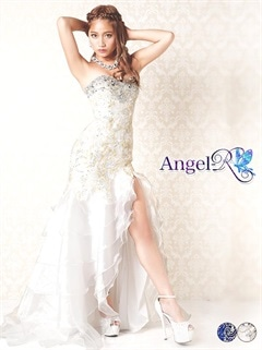 【P★10倍】[Angel R]刺繍×ビジュー段々フリルベアロングドレス[AR6303][送料無料]