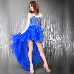 [drexie]バック編み上げティアードフリルテールカットインナーミニロングドレス