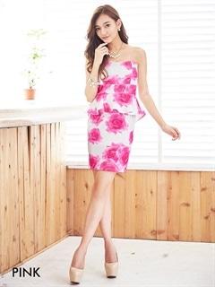 水彩Rose柄ベアタイトミニドレス