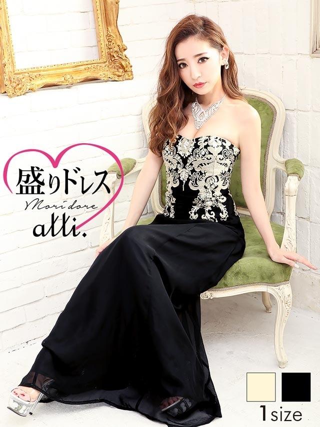早割10%OFF【盛りドレス】刺繍背中編み上げベアロングドレス[送料無料]