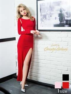 [S/Mサイズ]アシメカットアウトデザイン深スリット入りタイトロングドレス[2サイズ展開]