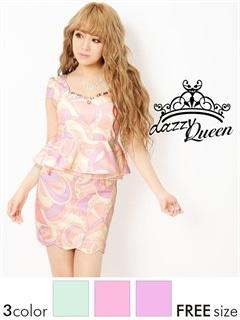 幾何学模様パステル袖付きチュールペプラムタイトミニドレス