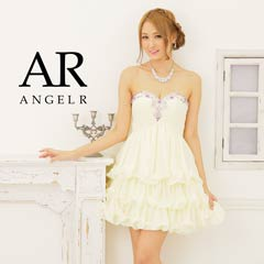 【P★10倍】[Angel R]フリルシフォンカラービーズハイウエストミニドレス[AR5228][送料無料]