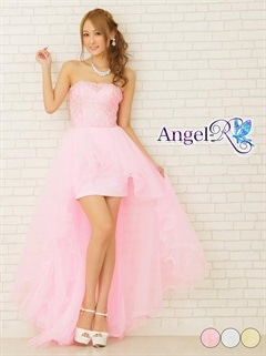 【P★10倍】[Angel R]シルバーレース刺繍オーガンジーベアインナーミニロングドレス[AR6226][送料無料]
