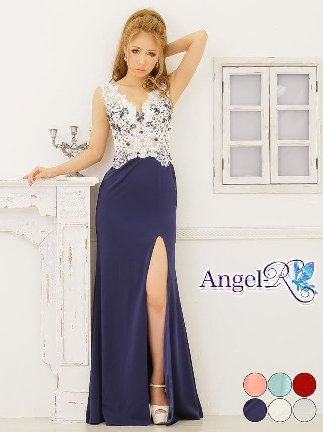 【P★10倍】[Angel R]レース刺繍ヌーディタイトロングドレス[AR6327][送料無料]
