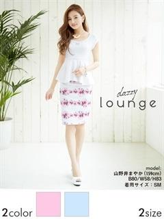 [SM/Mサイズ][2ピース]薔薇柄袖付きぺプラムタイトミニドレス[2サイズ展開]