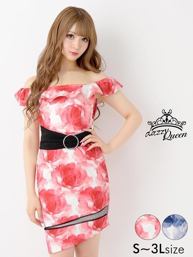 [S~3Lサイズ]オフショルぼかしflowerプリントベルト付タイトミニドレス