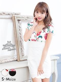 [SM/Mサイズ]スカラップ花柄タイトミニドレス[2サイズ展開]