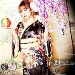◇dazzystore2017花魁◇リボン帯&組み紐付きビビッド和柄着物風ロングドレス