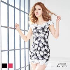 [S/M/Lサイズ]ローズ柄刺繍レースオフショルタイトミニドレス[3サイズ展開][送料無料]