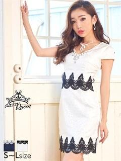 [SMLサイズ]刺繍レースジャガード袖付きタイトミニドレス[3サイズ展開][送料無料]