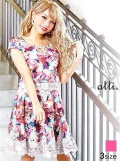 [SMLサイズ]ウエストレース透け花柄クラシカルAラインフレアミニドレス[3サイズ展開][送料無料]