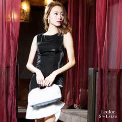 [SMLサイズ]裾フレアバイカラーマーメイドライン膝丈ドレス[3サイズ展開][送料無料]