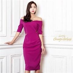 [S/Mサイズ]オフショルダー五分袖付きタイトひざ丈ドレスドレス[2サイズ展開][送料無料]