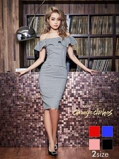 [S/Mサイズ]2wayギンガムチェック柄タイトひざ丈ドレス[2サイズ展開][送料無料]