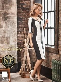 [S/Mサイズ]スリット入り長袖付きタイトひざ丈ドレス[2サイズ展開][送料無料]