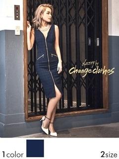 [S/Mサイズ]ファスナースリット入りノースリタイトひざ丈ドレス[2サイズ展開][送料無料]