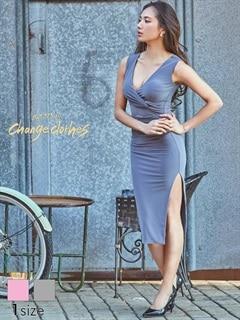 [S/Mサイズ]深スリット入りVカットノースリタイトひざ丈ドレス[2サイズ展開][送料無料]