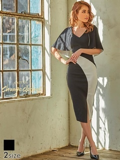 [S/Mサイズ]ケープドッキング風バイカラータイトひざ丈ドレス[2サイズ展開][送料無料]