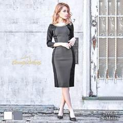 [S/Mサイズ]バックカットアウトサイドカラータイトドレス[2サイズ展開][送料無料]