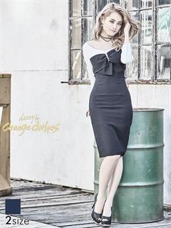 [S/Mサイズ]パール付きビッグリボン七分袖ひざ丈タイトドレス[2サイズ展開][送料無料]