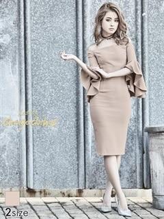 [S/Mサイズ]スリット入りアンブレラスリーブオフショルタイトひざ丈ドレス[2サイズ展開][送料無料]