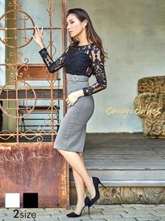[S/Mサイズ]オリエンタル柄シアーレーストップスベルト付きドッキングタイトひざ丈ドレス[2サイズ展開][送料無料]