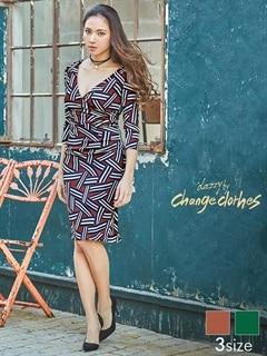 [S/Mサイズ]幾何学柄カシュクールタイトひざ丈ドレス[2サイズ展開][送料無料]