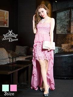 [SMLサイズ]刺繍レースシフォンテールカットインナーミニロングドレス[3サイズ展開][送料無料]