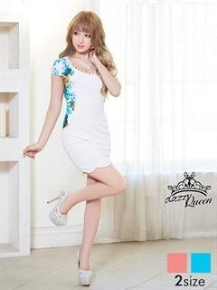 [SM/Mサイズ]ジャージー裾デザインカットサイド花柄ミニタイトドレス[2サイズ展開]