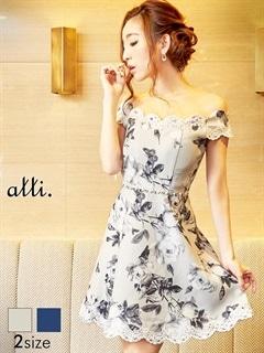 [S/Mサイズ]レオフショルダースカラップカット花柄Aラインミニドレス[2サイズ展開][送料無料]