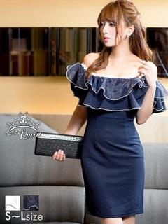 [SMLサイズ]オーガンジー重ねフリルオフショルダータイトミニドレス[3サイズ展開]