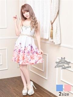 [S/Mサイズ]裾フラワー柄ウエストレースAラインフレアベアミニドレス[2サイズ展開]