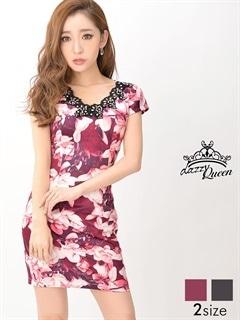 [S/Mサイズ]花柄刺繍レースネックタイトミニドレス[2サイズ展開]