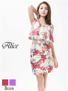 【P★10倍】[Alice]薔薇柄レイヤード風ノースリタイトミニドレス[52624][送料無料]
