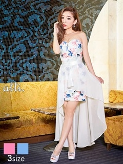 [SMLサイズ]シフォン巻きスカート付き花柄ベアタイトミニドレス[3サイズ展開][送料無料]