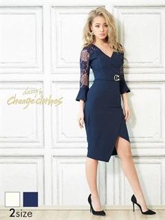 [S/Mサイズ]袖レースワンカラースリットタイトドレス[2サイズ展開][送料無料]