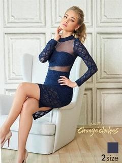 [S/Mサイズ]デコルテ&背中透け見せ長袖タイトひざ丈ドレス[2サイズ展開][送料無料]