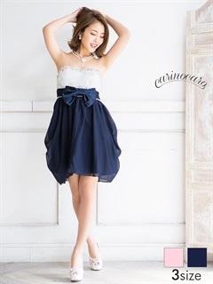 [SMLサイズ]ウエストリボン付き立体フラワーベアバルーンスカート[3サイズ展開]