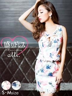 【盛りドレス】[S/Mサイズ]谷間クロスホールカット花柄タイトミニドレス[2サイズ展開][送料無料][ヌードブラ付き]