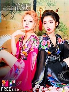 ◇dazzystore2017花魁◇ビジュー&ビーズ付和柄着物風振袖ロングドレス[送料無料]
