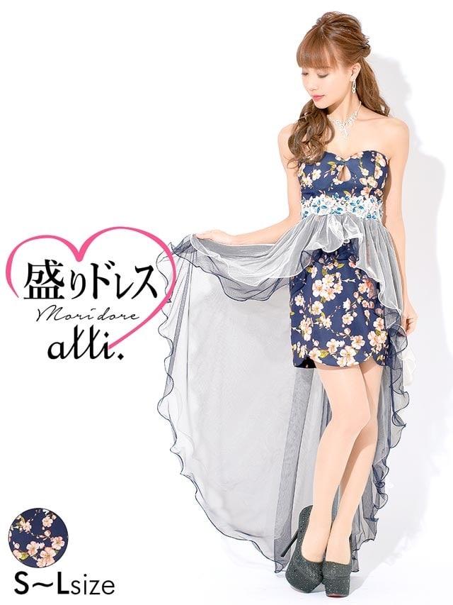 [SMLサイズ]背中編み上げペプラムチュールテールカットタイトミニドレス