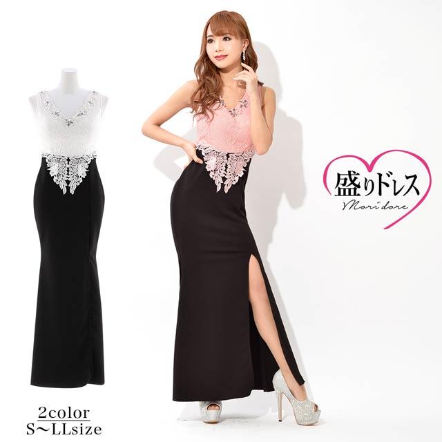 [S~LLサイズ]スリット美脚見せ刺繍レースタイトロングドレス